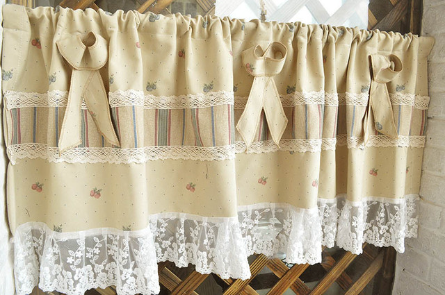 Free shipping Elegant Fruit lace flounced hem pastoral short curtain ...