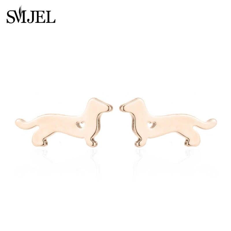 SMJEL minuscule mignon chien boucles d'oreilles pour femmes accessoires amour coeur teckels chien Animal boucles d'oreilles enfants bijoux brincos