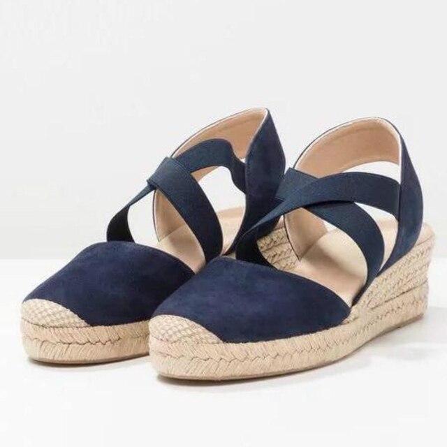 Yaz Kadın Kenevir platform sandaletler Kama Ayakkabı Üzerinde Kayma Kadın Akın Elastik bant Çapraz Kayış Yüksek Topuklu Ayakkabı Artı Boyutu