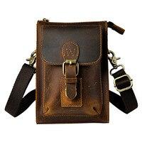 Vintage Genuine Leather Casual Multi Funciton Bag Men S Crossbody Shoulder Bag Messenger Bag Waist Belt