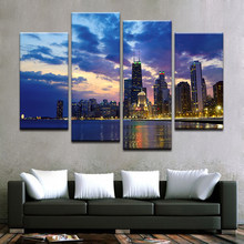 HD Prints Poster Modular City Night View Building Wall Art Modern Canvas Painting Decor Picture Cheap Framework Drop Shipping(China)