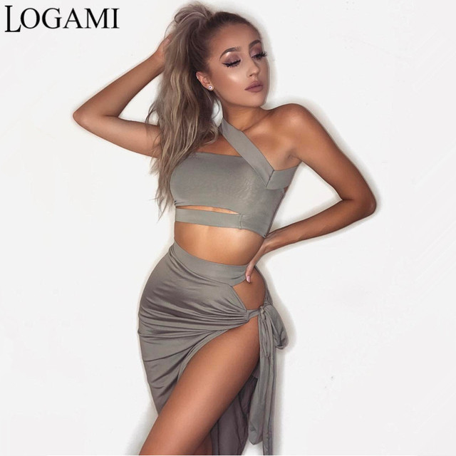 64f408f5d LOGAMI 2 Piece Set Women Skirt Top Sexy Two Piece Set Skirt And Top For  Summer Party Club Wear Split Clothing Conjunto Feminino
