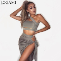 LOGAMI Two Piece Set Top And Skirt For Summer Party Club Wear Sexy Split 2 Piece