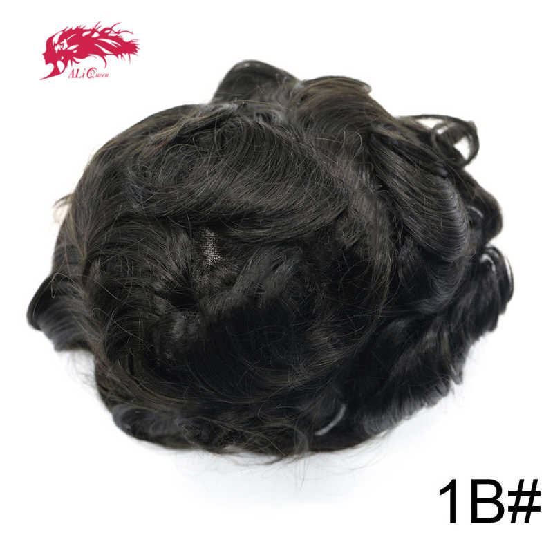 Ali Queen  Hair Replacement Systems Mono Lace NPU Indian Remy Hair Toupee Mens Hair Piece wig