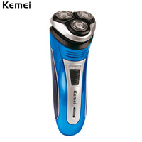 Kemei 220V Rechargeable Electric Shaver 3D Triple Floating Blade Heads Shaving Razors Face Care Men Beard