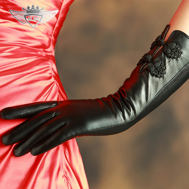 KLSS marque en cuir véritable femmes gants de haute qualité en peau de chèvre gants élégant noir rétro Lute boucle dame en peau de mouton gant 818