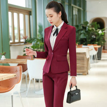 Womens suit jacket set 2019 new professional womens fashion solid color slim office wild pants two-piece