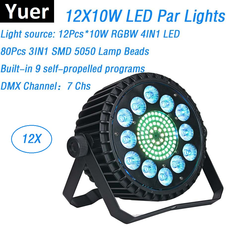 12 Units LED Par 12X10W RGBW 4IN1 LED Stage Light Par Lights DMX512 Control For Disco DJ Projector Machine Party Decorations
