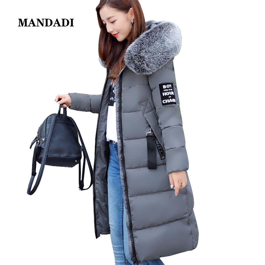 winter jacket women 2017 Fur Collar Hooded Parka coat women Cotton-Padded Thicken Warm Long Jacket Female Plus size women winter coat jacket 2017 hooded fur collar plus size warm down cotton coat thicke solid color cotton outerwear parka wa892