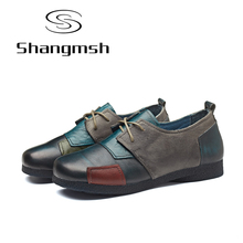 Handmade Genuine leather flat shoes women Cow Muscle soft comfortable Round toe Casual Fashion Loafers women 2017 Spring Autumn