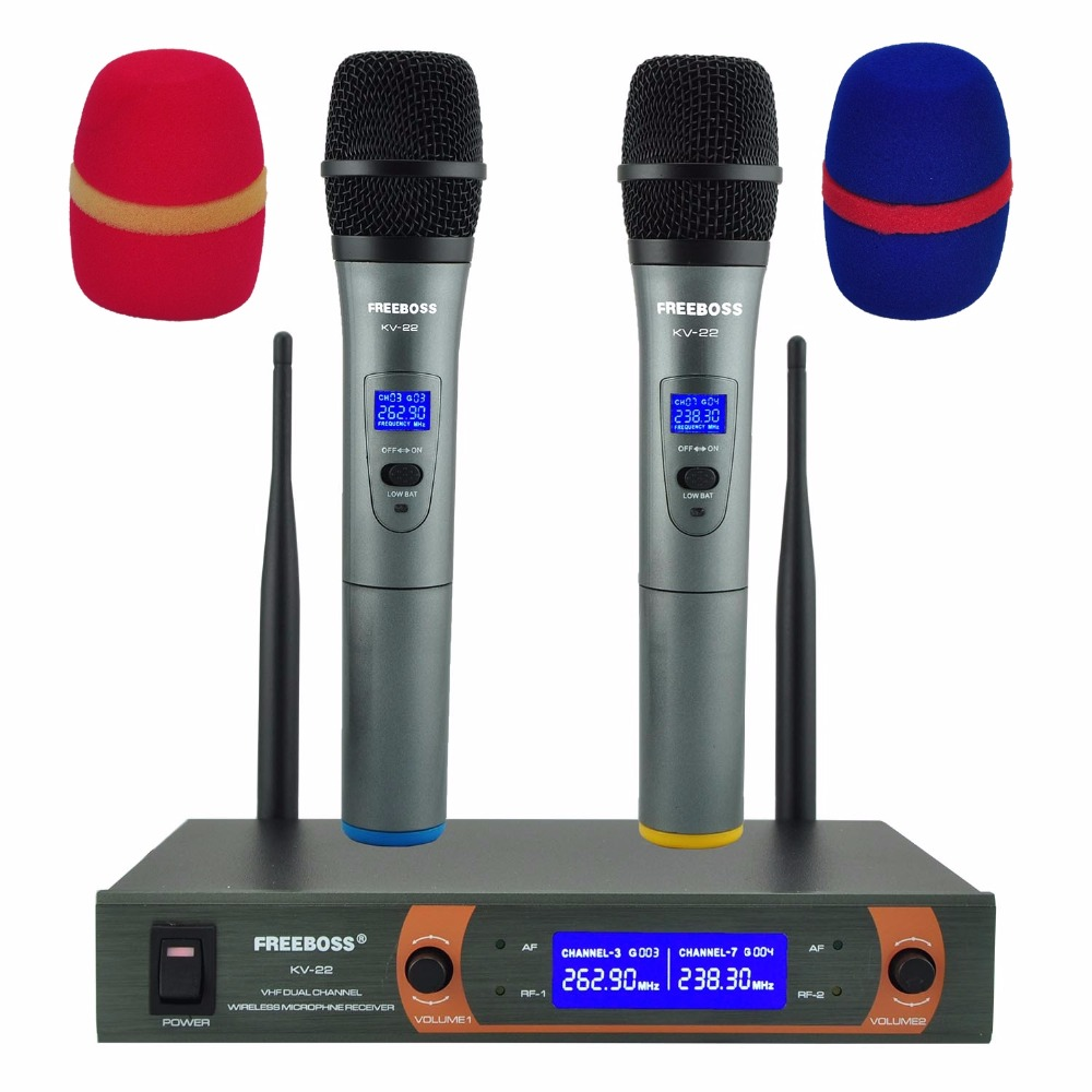 KV 22 VHF 2 Handheld Wireless Microphone Dynamic Capsule Family Party Mixed Output Wireless Karaoke Microphone