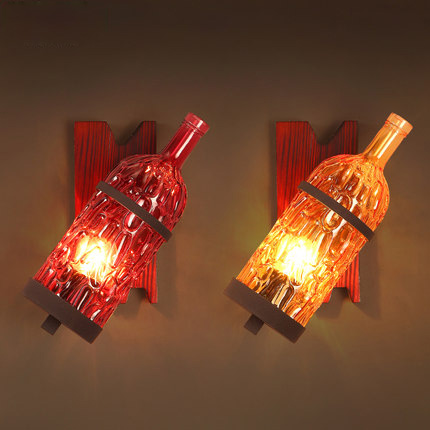 Loft Style American Vintage Wall Lamp Multicolor Wall Light Creative Bar Coffee Shop Wall Lights Glass Bottle Art Deco Lighting loft style suspension luminaire wrought iron vintage pendant light coffee shop creative hanging lamp bar art deco lighting