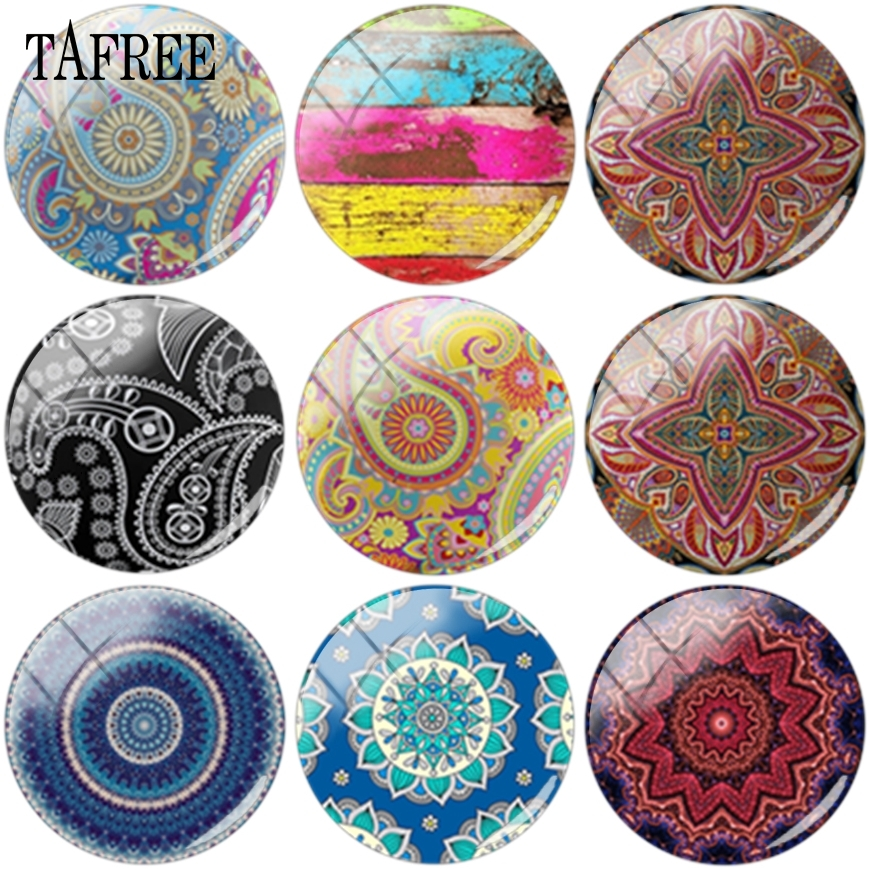 TAFREE Old Fashion Flowered Glass Cabochon 12mm 16mm 18mm Dome Base Cover Pendant For Keychains Necklace DIY Accessories