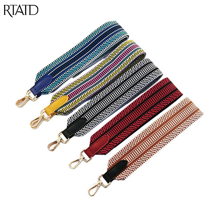 New Stripe Design Women Bag Strap With Leather Chic Handle For Ladies Shoulder Strap Fashion Bag Belts Handbag Bags Accessories