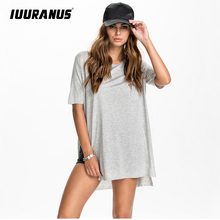 IUURANUS Women Sexy 0-Neck Side Slit Casual Loose Long T-shirt Summer Half Sleeve Oversize Top plus size T shirts solid color недорого