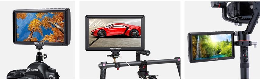 FEELWORLD S55 5.5 cal DSLR ekran aparatu 4K HDMI LCD IPS HD 1280x720 wyświetlacz monitor zewnętrzny 8.4V DC wyjście dla Canon Sony Nikon 24