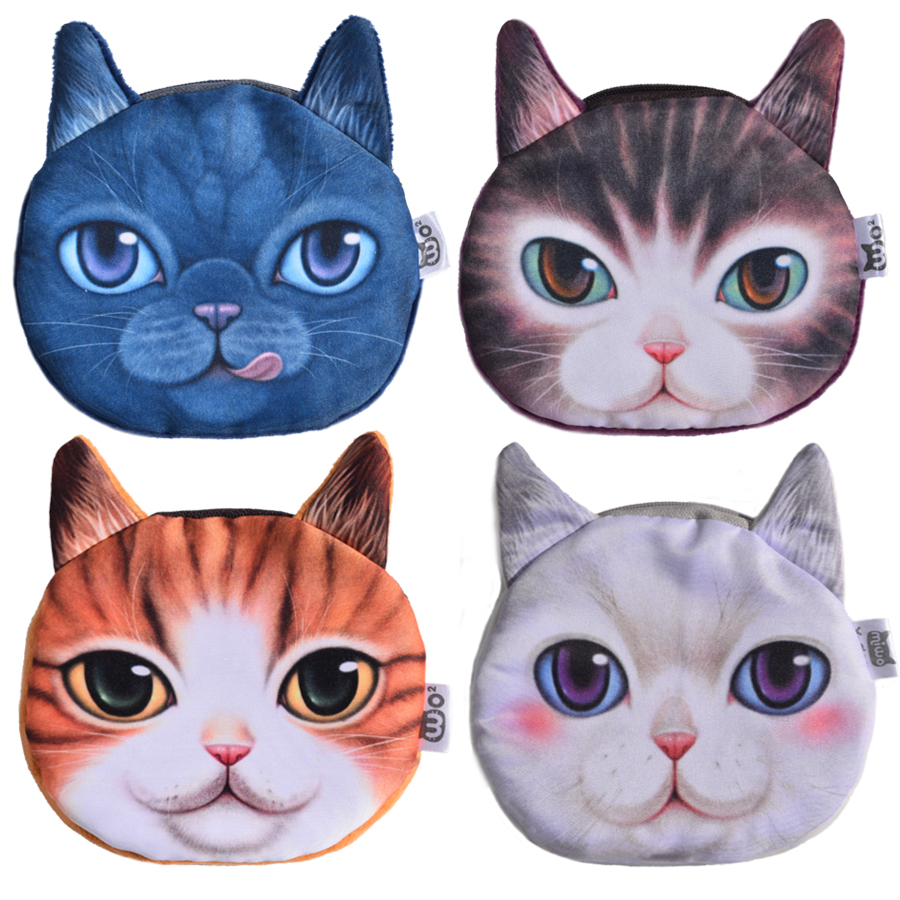 X Dolls High Quality 3D Cat Prints Coin Wallets Female Coin Packet Children Gifts Plush Bags Women Coin Purses