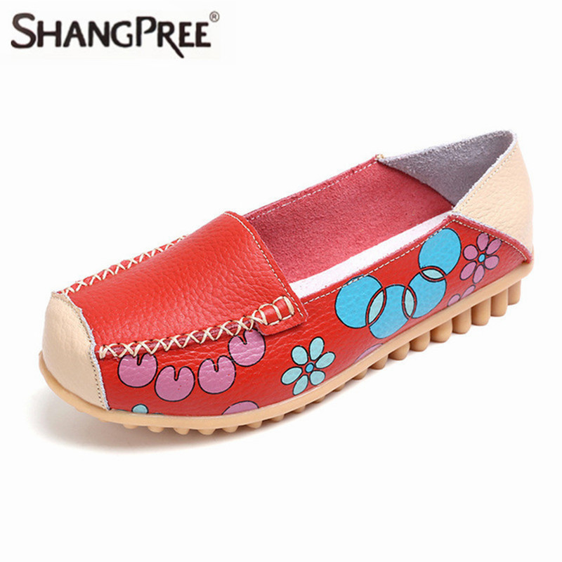 New Spring Summer Women Flats Shoes Female Genuine Leather Printing Loafers Shoes Woman Fashion Slip On Shallow Flats Loafers цена и фото