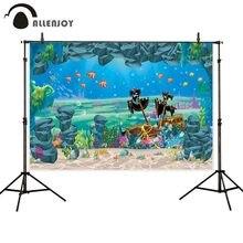 Allenjoy fotoğraf backdrop korsan gemisi mermaid mağara altında arka plan photocall photobooth fotoğraf stüdyo çekimi için pervane