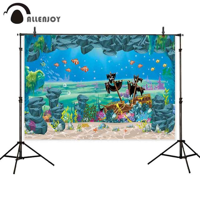 Allenjoy photography backdrop pirate ship mermaid cave under sea background photocall photobooth photo studio shoot prop