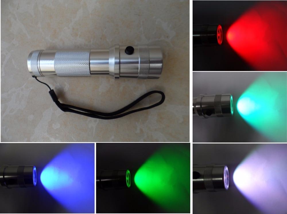3 W LED RGB Cambia Colore Torcia Elettrica Della Torcia 10 colori Nuova batteria powered torcia Partito Della Discoteca del DJ show lighting