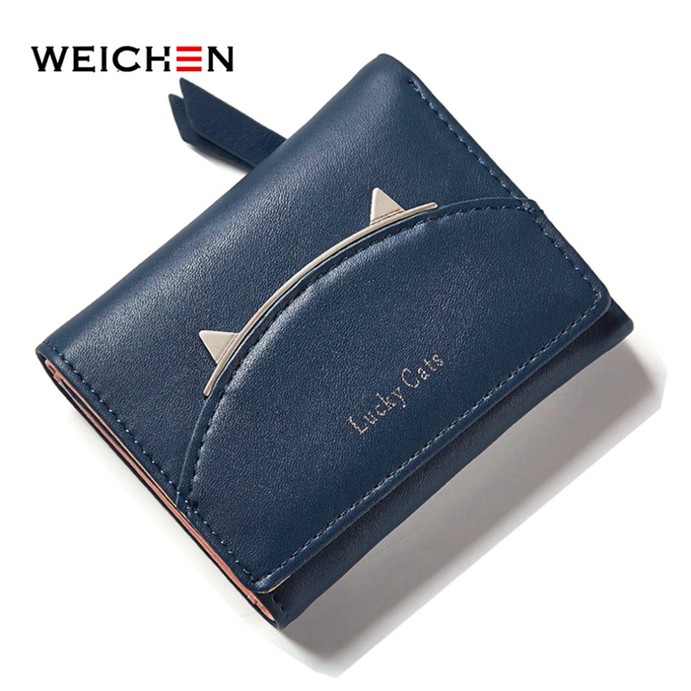 WEICHEN Korean Style Cute Cat Leather Lady Short Wallet Female Coin Card Holder Zipper and Hasp Money Bag Trifold Purse Bag xzxbbag fashion female zipper big capacity wallet multiple card holder coin purse lady money bag woman multifunction handbag
