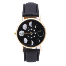 Solar Moon Phase Lunar Eclipse Watch Women Stylish Quartz Watch PU Leather Bracelet Watches For Women Clock women dress watch