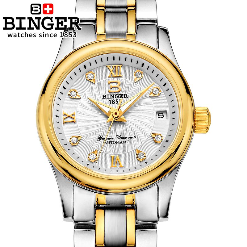 Switzerland BINGER Women Watches Luxury 18K gold Mechanical Wristwatches full stainless steel Waterproof Wristwatches B-603L-3 switzerland binger watches women fashion luxury 18k gold color watch quartz sapphire full stainless steel wristwatches b3035 2