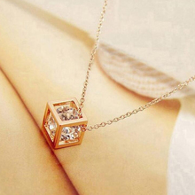 New Arrival Crystal Rhinestone Pendant Necklace For Women Fashion Silver Square Color Clavicle Necklace Wedding Jewelry недорого