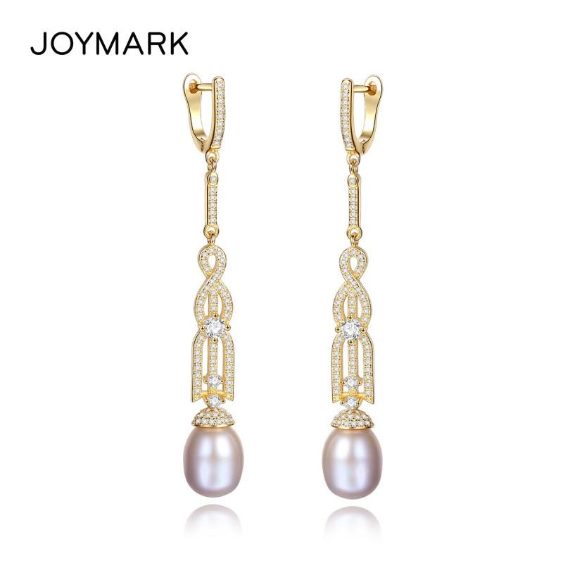 JOYMARK 925 boucles d'oreilles en argent Sterling à Long Clip boucles d'oreilles de luxe en perles d'eau douce naturelles Style bohème bijoux fins JPSE068