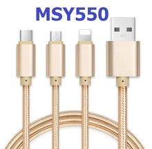 Hot nylon one-drag three-wire braided wire multifunctional three-in-one charging wire