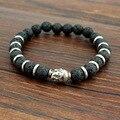2016 Natural Stone Buddha Charm Bracelets with Stones Beads Bracelets for Women Men Silver Turkish Jewelry Pulseira Masculina