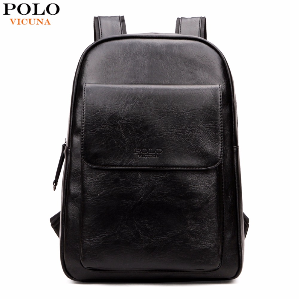 VICUNA POLO Fashion Unisex Leather Backpack Casual Man Laptop Backpack High School Backpack For Laptop Travel Bag Hot mochilas vicuna polo men leather usb cable travel laptop backpack with headphone hole school backpack has front pocket bagpack mochila