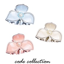 3 Color Four-leaf Clover Flower Acrylic Hair Clip Claws For Women Girl Wedding Crystal Pearl Jewelry Accessories Gift