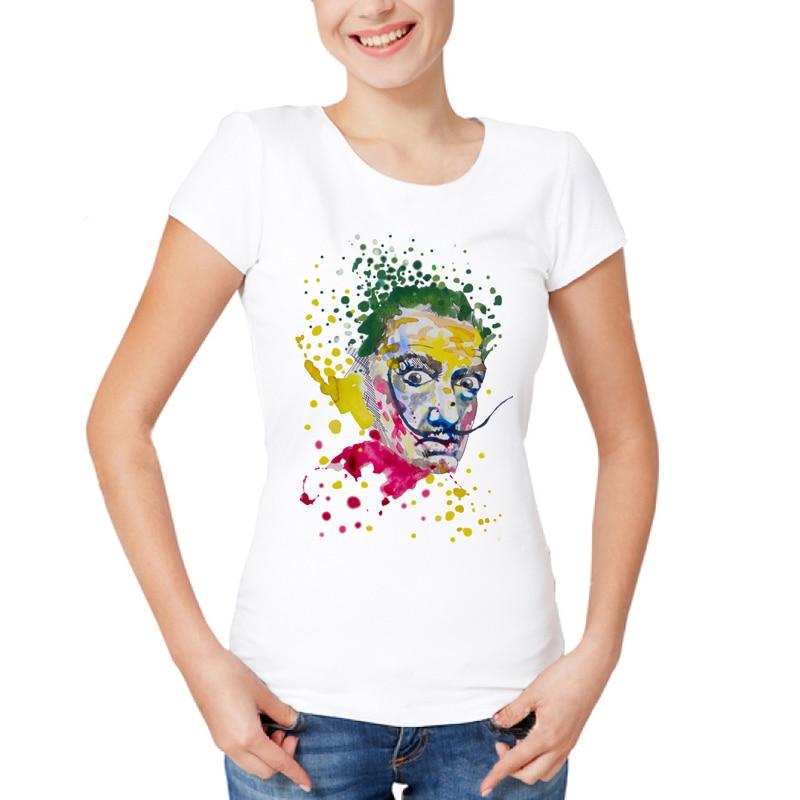 2019 Salvador Dali T shirt Women t shirt fashion funny t-shirt O Neck white TShirts For Women Top Tees Watercolor Desgin