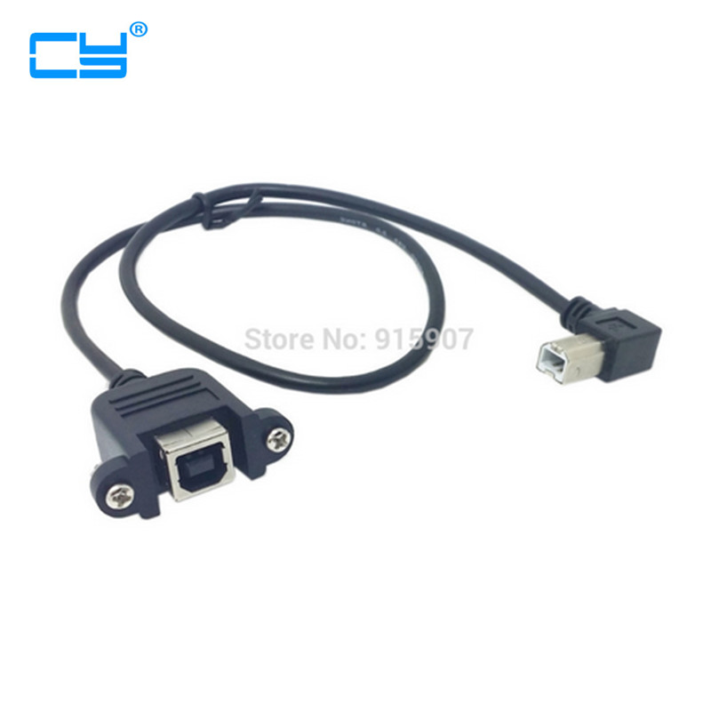 50cm 90 Degree Left Angled USB B Type Male To Female Extension Cable With Screws For Panel Mount