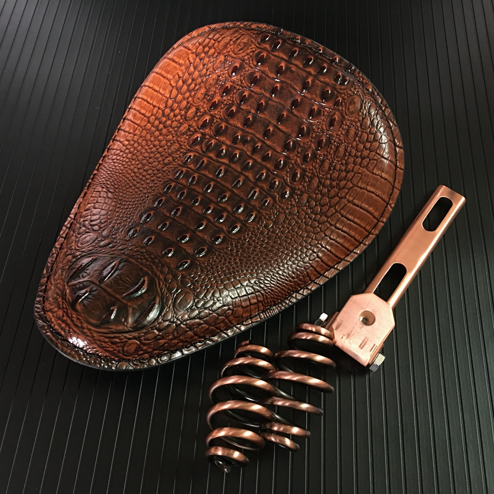 Motorcycle Retro Brown/Black Crocodile Leather Solo Seat+3 Spring Bracket for Harley Custom Chopper Bobber Leather Saddle Seat