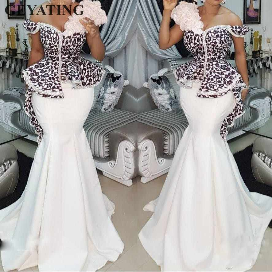 8e22825d4843b Elegant Long Mermaid Nigerian Evening Gowns 2019 White Satin Flower African  Prom Dresses Black Lace Peplum Formal Party Dress