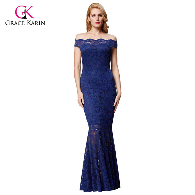 Grace Karin Women Formal Evening Dress Plus Size Blue Elegant Prom Lace Gown Off Shoulder Long Wedding Party Dress Mermaid 2018 In Evening Dresses