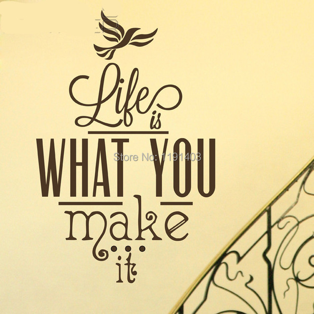 2014 Removable Home Accessories Decor Fashion Inspirational English Words Life Is What You Make It