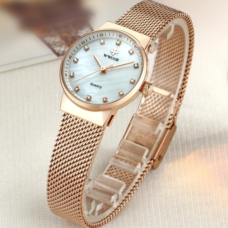 WWOOR Märke Luxury Women Vattentät Quartz Watch Ladies Rose Gold - Damklockor - Foto 3