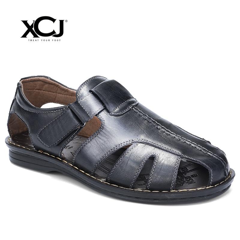 XCJ Men Sandals Men Beach Sandals Brand Flip Flops Men Casual Shoes Genuine Split Leather Sneakers Men Slippers Summer Shoes
