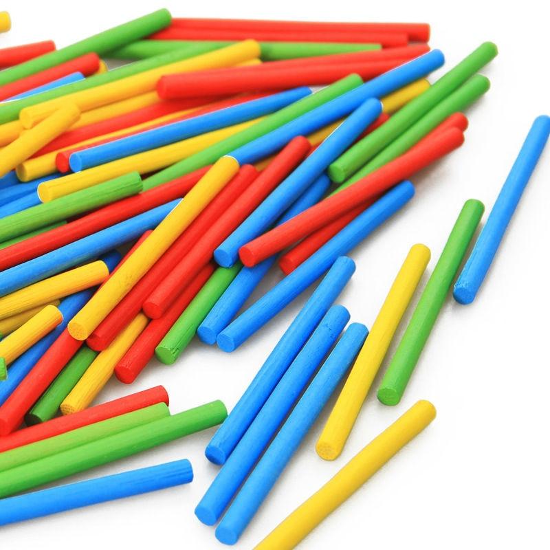 Freies Verschiffen Kinder 100PCS Bambus Farbe Anzahl Stangen Spiel Stick Spielzeug, Kinder Lernspielzeug, Baby Spielzeug 2- 10 Jahre