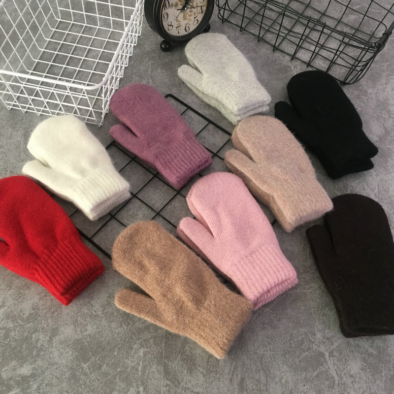 Hot Sale 2018 Fashion Women Winter Gloves Pure Color Rabbit Fur Mittens Soft Warm Candy Color Female Gloves Red Gloves For Women