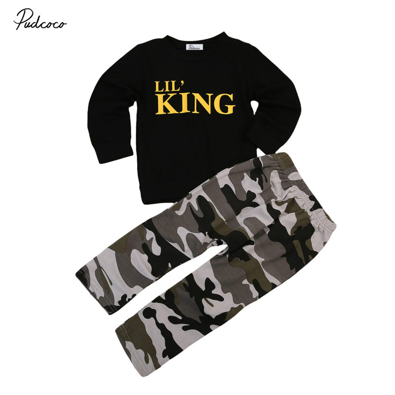 Pudcoco 2017 Summer Brand New Baby Boy Girl Clothing Set Kids Black Long Sleeve Letters T-shirt+Camouflage trousers 2pcs Clothes new 2017 aint a woman alive that could take my mama s place black baby girl boy kids minions clothes t shirt tops blusas mujer