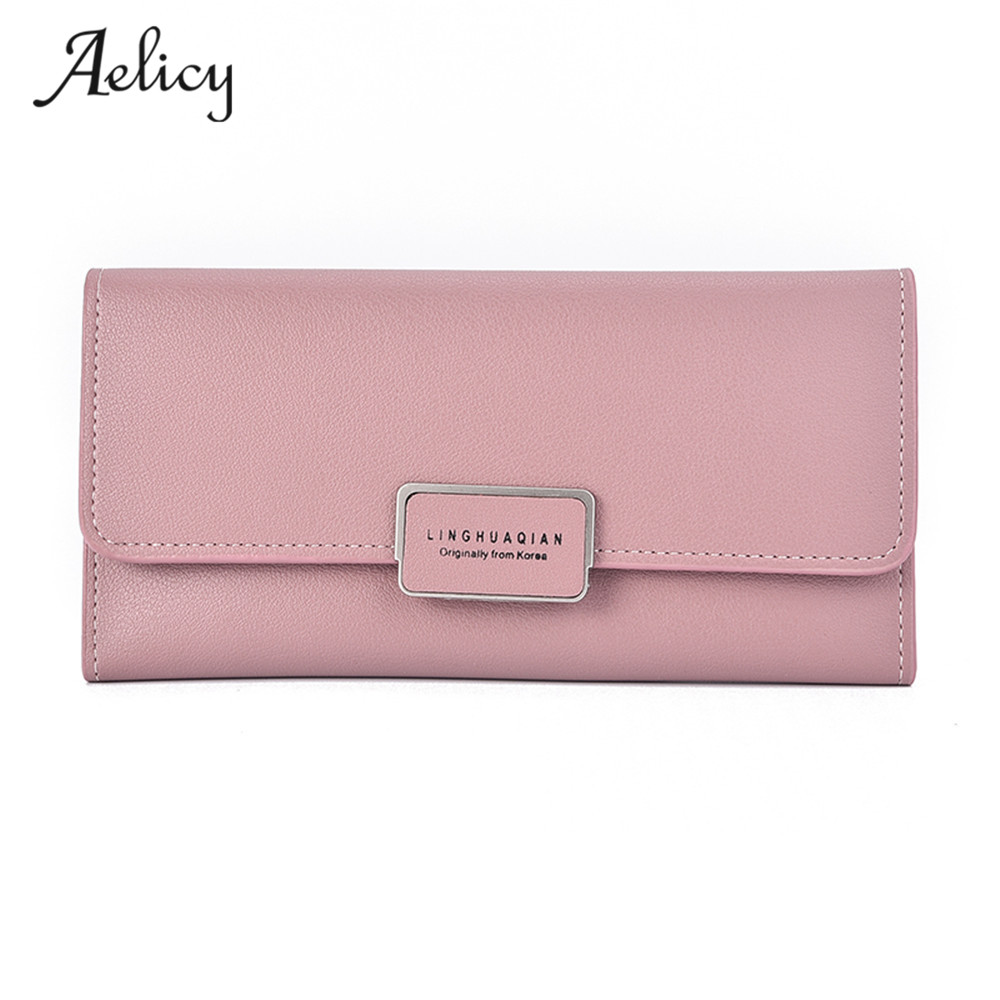 Aelicy Women's purse Pure Passport Cover Large Capacity Business Card Holder For Female Three-Fold Clip Simple Card Package love and clouds two kinds of styles passport cover passport holder luggage tag silicone strap three pieces