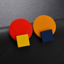 Contrast Square Round Geometric Earrings Yellow Blue Stud For Women Accessories Vintage jewelry womens jewellery Gifts