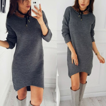2018 Women Autumn Winter Women Dress Long Sleeve Solid Color Ladies Loose Casual Dresses Lady Bodycon Robe Dresses vestidos(China)