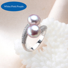 High Quality 925 Sterling Silver Double Pearls Rings AAA Cubic Zircon 2017 New Fashion Jewelry Vintage Wedding Rings Gifts R054
