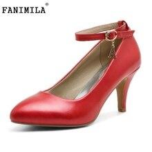Женщины Высокие Каблуки Плюс Размер 32-44 Sexy Невесты Острым Носом Туфли На Каблуках Лодыжки Ремень Женщины Насосы Мода Женская Обувь обувь
